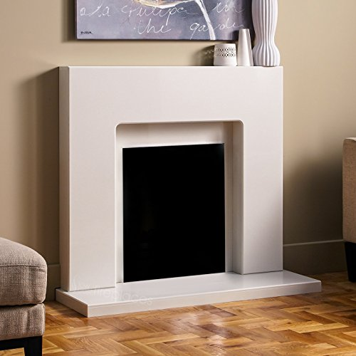 White Marble Stone Curved Modern Wall Surround Gas Fireplace Fire Suite - 18mm Rebate