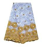 SanVera17 Afrikanischer Spitzenstoff für Kleider, 4,5 m,