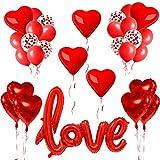32X Kit Romantico, Love XXL Rosso, Decorazione Romantica, Palloncini Love Set, Cuore Giagante, Palloncini a Forma di Cuore Rossi, Anniversario Matrimonio e Fidanzamento