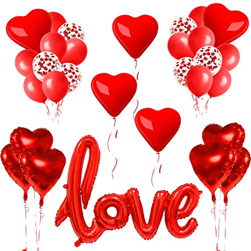 32pcs Ballon Rouge Kit, Ballons Décoration Romantique, Ballon Love XXL, Coeur de Ballons, Fixés pour Mariage Anniversaire de Mariage et Fiançailles Décoration