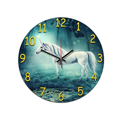 LUOYLYM Einhorn Wohnzimmer Digitale Retro Wanduhr Acryl Stumm Hause Kreative Mode Uhr Randlose Wecker P190430-169 28CM
