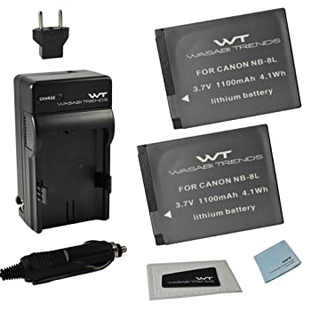 Combo Kit WT Nixxell Battery  2pack  and Charger for Canon NB-8L,CB-2LA and Canon PowerShot A2200 A3000 is A3100 is A3200 is A3300 is  Fully Decoded