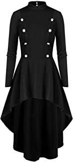 MoonHome Medieval Steampunk Tailcoat Halloween Costumes for Women, Renaissance Gothic Jackets Vintage Frock Coat