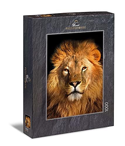 Ulmer Puzzleschmiede - Puzzle 'Retrato de león': Puzzle de 1000 piezas - El león, el rey de las bestias, en primer plano con melena dorada
