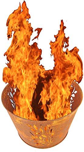 Nick and Ben Design Feuer-Korb Rostlook XL Vintage 45cm Designer Pflanz-Schale Terrassen-Ofen Garten-Kamin Feuer-Schale Feuer-Stelle Grill-Feuer