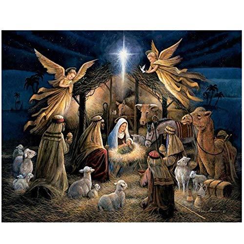 artaslf 5D DIY cuadrado Diamante Pintura Nacimiento de Jesús Punto de cruz Diamante Bordado Patrón Rhinestone Decoración para el hogar- 50x70cm sin marco