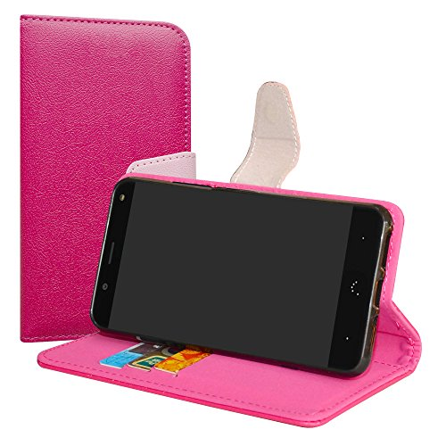 LiuShan BQ Aquaris VS/Aquaris V Hülle, Brieftasche Handyhülle Schutzhülle PU Leder mit Kartenfächer & Standfunktion für BQ Aquaris VS/Aquaris V (5,2 Zoll) Smartphone,Pink