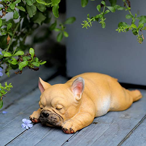 """Outdoor Patio Garden Sculpture-Statue Decor - Cute French Bulldog Puppy Statue Pet Memorial Figurine Gift, Lying Sleeping Frenchie for Indoor Outdoor Porch Yard Lawn Decoration (9.6"""" Sleeping B)"""