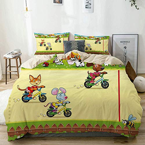 916 beige Duvet Cover Set,Racing Mouse Cat and Dog on The Bike in Farm Animal Comic Caricature,Microfibre Duvet Cover Set 260x220cm with 2 Pillowcase 50x80cm