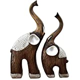 XBR Creativity Elephant Figurines Juego de estatuas de decoración del hogar, Escultura de Feng Shui Good Luck Wealth Lucky Adornos, decoración del hogar, Decoración de Oficina, Marrón