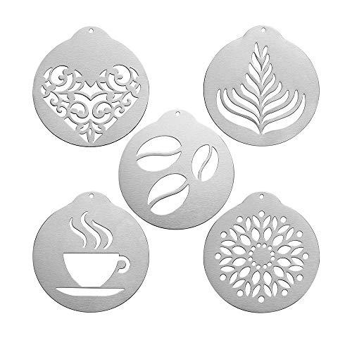Coffee Art Lot de 5 moules à cappuccino en acier inoxydable pour entraînement de cuisine et magasin