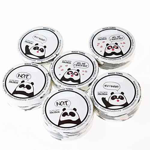 Kamaca - Juego de 4 toallas mágicas (100% algodón), algodón, Juego de 6 piezas (= 6 unidades) Panda, ca. 30 cm x 30 m