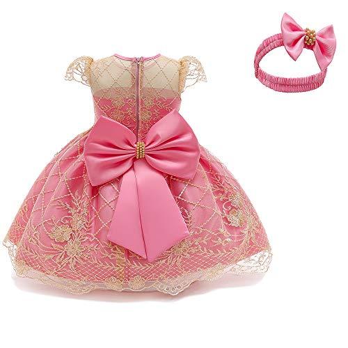 TTYAOVO Baby Mädchen Formelle Kleidung Bowknot Taufe Stickerei Tutu Kleid mit Kopfbedeckung Größe (80) 6-12 Monate Rosa 1 (mit Kopfbedeckung)