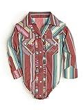 Wrangler Baby Girls' Long Sleeve Snap Bodysuit, Red Stripe, 6-9 Months