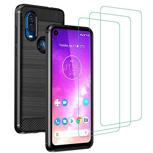 ivoler Funda para Motorola Moto One Vision + 3 Unidades Cristal Templado, Fibra de Carbono Negro TPU Suave de Silicona [Carcasa + Vidrio Templado] Ultra Fina Caso y Protector de Pantalla