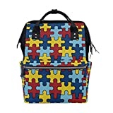 Bolsa de pañales para bebé de gran capacidad Conciencia sobre el autismo Pieza de rompecabezas colorida Mochila de viaje multifunción duradera