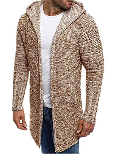 TEBAISE Herren Vintage Lang Stricken Cardigan Kapuzenpullover Einfarbig Slim Fit Langarm Mit Kapuze Strickjacke Hoodie Hoody Sweatshirt Jacke Winter Trench Coat Outwear