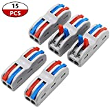 smseace 15 Pcs SPL-2 Lever Nut Conductor Compact Connectors Color Button clamp Quick Terminal Block for 2 Circuit Inline Splices 28-12 AWG SPL-2S-15P …