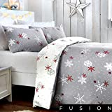Fusion Christmas Snowflake Mikrowellen-Drehteller, 100% Spazzolato in Cotone, Red, Doppio