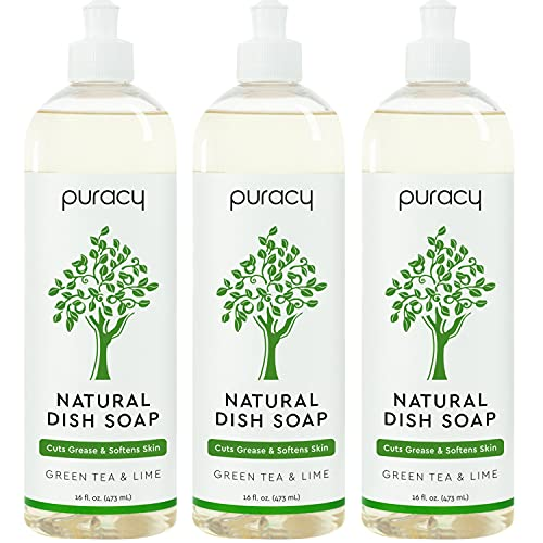 Puracy Natural Dish Soap, Green Tea & Lime, Sulfate-Free, Natural Liquid Detergent, 16 Fl Oz (3-Pack)