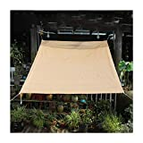 shade sail baldacchino, recinzione per la privacy schermo, filtro luce poliestere traspirante con acciaio inossidabile asola per pergola, posto auto coperto, portico ( color : beige , size : 6x8m )