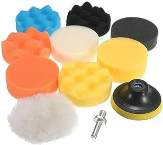 JSAuto Set de 11 Kit de Almohadillas de Esponja para pulir de Taladro Compuesto de 3 Pulgadas para lijar, pulir, encerar y...