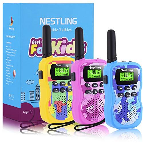 Nestling Walkie-Talkie Bambini,8 Canali 3 km a Lungo Raggio 2 Way Radio VOX Scansione Auto,Ricetrasmittenti Giocattoli Torcia con LED(3 Pezzi)