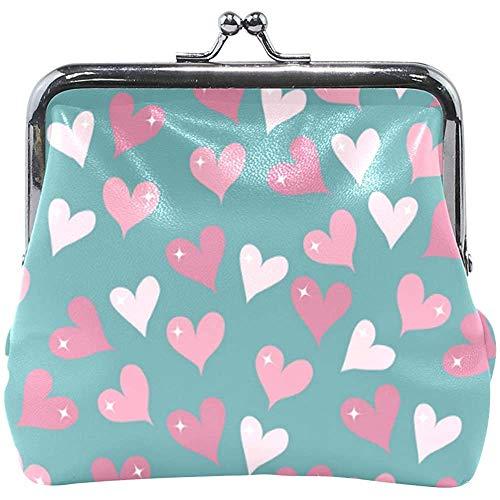 Roze hart-patroon lederen portemonnee Snap Closure Clutch