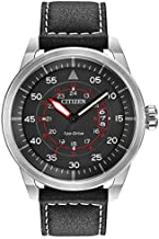 Citizen Eco-Drive Men's AW1361-01E Sport Stainless Steel Watch with Leather Band