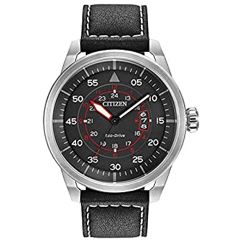 Citizen Eco-Drive Avion Quartz Mens Watch Stainless Steel with Leather strap Weekender Black  Model  AW1361-01E