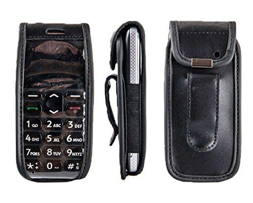 caseroxx Ledertasche mit Gürtelclip für Doro Primo 215 aus Echtleder, Handyhülle für Gürtel (mit Sichtfenster aus schmutzabweisender Klarsichtfolie in schwarz)