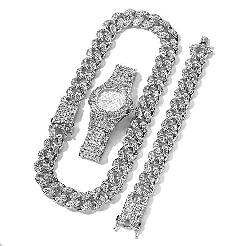 Crystally Men Watch Cuban Chain Bracelet Set Cuban Chain Necklace Bracelet and Watch Mens Hip Hop Jewelry Set Gold Silver Rose Chain Bracelet for Men Gift Gold Plated (Silver)