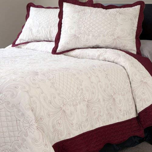 Amazon Com Lavish Home 66 10009 K Juliette Embroidered 3 Piece Quilt Set King Home Kitchen