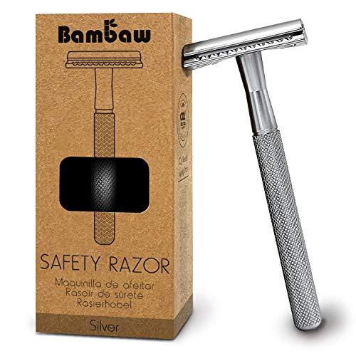 Metall Rasierer Plastikfrei Silber| Rasierhobel Zero Waste | Eco Rasierer Herren und Damen | Shaving Razor | Einklingen Rasierer Umweltfreundlich | Hobel Rasierer Nass | Safety Razor | Bambaw