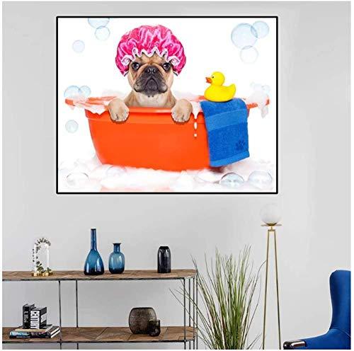 MKAN Perro con Gorro De Ducha, Pato Amarillo, Juguete para Bañarse En La Bañera, Arte De Pared, Decoración, Imagen, Decoración De Pared para El Hogar, 60X90Cm