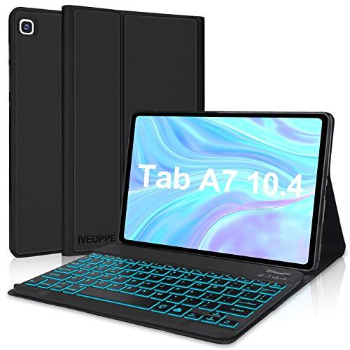 IVEOPPE Funda con Teclado para Samsung Galaxy Tab A7 2020 10.4'', Teclado Bluetooth 7 Colores Retroiluminada Español Ñ para Samsung Galaxy Tab A7 T505/T500/T507 - Negro