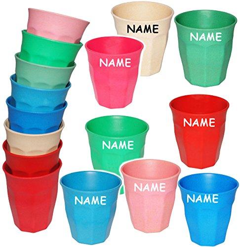 alles-meine.de GmbH Bambus _ Trinkbecher / Becher -  Waffeloptik -Bunte Farben  - incl. Name - 280 ml - aus Bambusfasern - Tasse - auch als Zahnputzbecher / Malbecher - Kinder ..