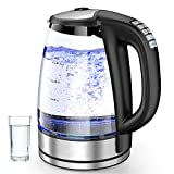 Wasserkocher mit Temperatureinstellung, Glas Wasserkocher Edelstahl Wasserkocher, Teekessel mit 4 Hrs Warmhaltefunktion, LED-Beleuchtung Borosilikatglas Glaswasserkocher BPA Frei 2.0L mit Filter