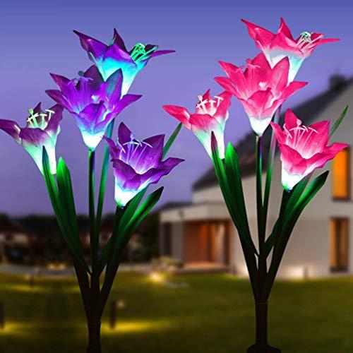Solarleuchte Garten, Venkaite 2 Stück LED Solar Garten Licht Lilie Blumen Solarlicht mit Farbwechsel Außen Solar Stecker Lichter Solarlampe für Gehweg Terrasse Rasen Hof Dekoration, Rosa und lila