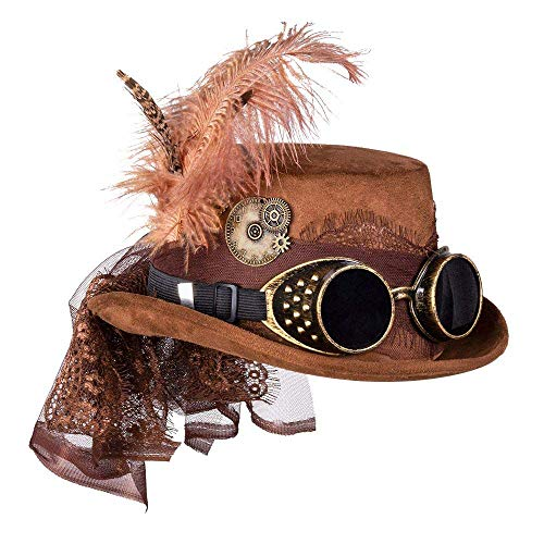 Are you looking for an accessory to match your costume? Then this hat from Boland is just the thing for you The Specspunk deluxe hat is in brown. It is decorated with glasses, gears, feathers and a veil The headgear is in one size for adults and suit...