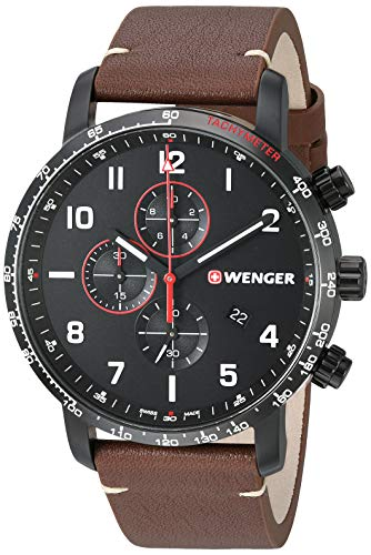 Wenger Men's Attitude Stainless Steel Swiss-Quartz Leather Strap, Brown, 22 Casual Watch (Model: 01.1543.107)