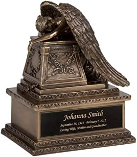Perfect Memorials Custom Engraved Bronze Finish Weeping Angel Cremation Urn Small