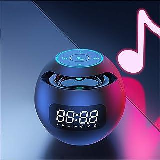 Taglia libera Dengofng Sveglia a LED da comodino con specchio Bluetooth ufficio comodino Oro rosa musica wireless Non null doppio altoparlante per camera da letto sveglia digitale