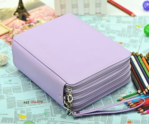 YOUNGCOL 184 Slot Colored Pencil Case Deluxe PU Leather Pencil Holder Organizer Purple product image