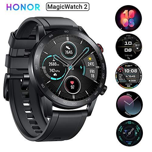 HONOR Magic Watch 2 46mm Smart Watch,15 Deportes Diferentes,Monitor de frecuencia cardíaca y estrés,Larga duración de batería, Altavoz Incorporado y micrófono Compatible con Android iOS, Negro
