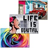 GREAT ART Juego de 3 Carteles XXL – La Vida es Bella – Banksy Cuba Oldtimer arcoíris Rosa Arte ilustración Planta Flor Decoración de Interiores Mural Póster Cada uno 140 x 100 cm