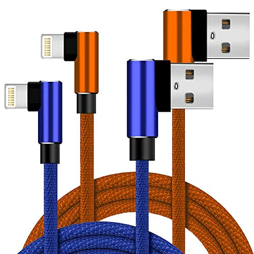 Boost+ Ladegeräte 2 Stück 1,8 m extra lang Nylon geflochten 90 Grad Schnellladekabel Datenkabel Reiseladegerät kompatibel mit Apple iPhone, iPod Mobile Digital Gerät, Orange/Blau