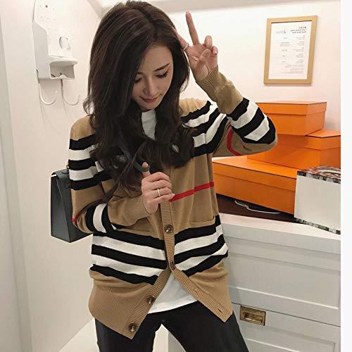 女性のジャケットのためのセーターcardigan mid-length knitted jacket V-neck loose striped sweater thin ladies trench coat-jry-1111_XXL