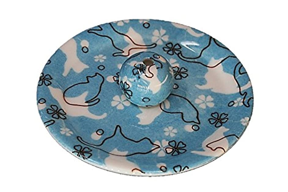 迫害機械的スイッチ9-45 ねこランド(ブルー) 9cm香皿 日本製 お香立て 陶器 猫柄