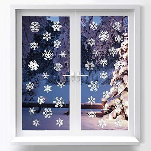 O-Kinee Schneeflocken Fensterbild, Fensterbilder Weihnachten Selbstklebend, Winter-deko Weinachts Dekoration, Weihnachten Fenstersticker mit 39 Verschiedene Formen Schneeflocken